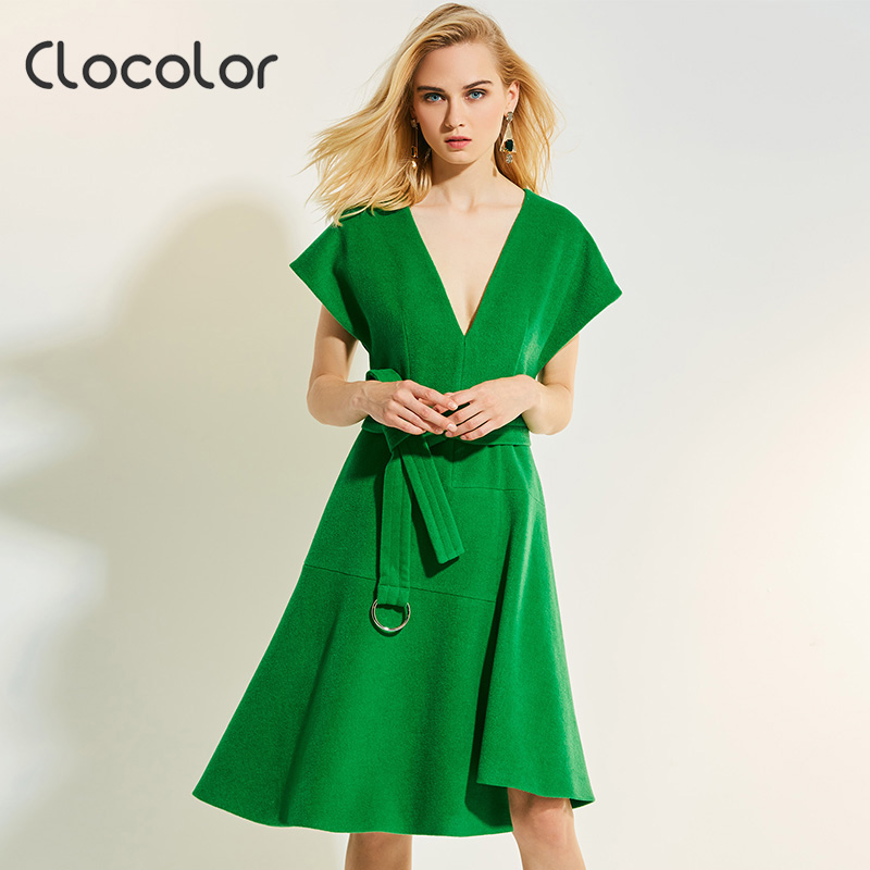 Clocolor Для женщин Винтаж платье Зеленый короткий рукав линии колена-Длина ремень с рукавами «летучая мышь» женские Elegant2017 Для женщин Винтаж п...