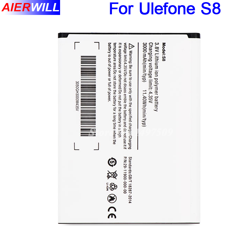 Pour Ulefone S8 Batterie Pour Ulefone S8 Pro Batterie Bateria Accumulateur 5.3 Pouces Android 7.0 4G Mobile MT6737 Quad Core 3000 mAh