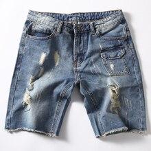2017 плюс размер 38 40 Мужские джинсовые шорты летние отверстия капри slim fit винтаж новый teenage колен джинсы разорвал для мужчины
