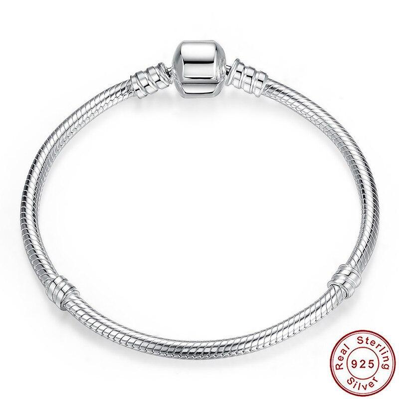 VENTE de noël Authentique 100% 925 Sterling Argent Serpent Chaîne De Bracelet et Bracelet De Luxe Bijoux 17-20 CM PAS902 BAMOER