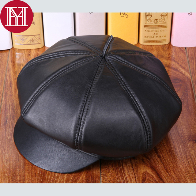 2017 women natural real sheepskin leather hats fashion casual octagonal  sleepskin leather caps hot sale sheepskin 6f6c9b7adcd