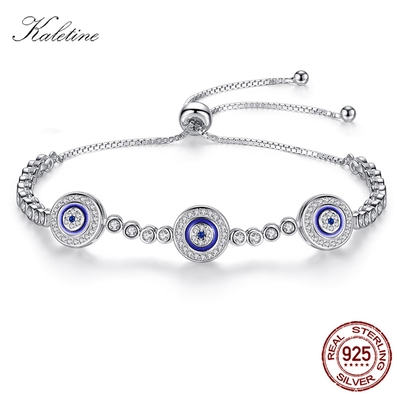 Women Evil Eye Lucky Hamsa Bracelet Genuine 925 Sterling Silver Men Luxury Round Blue Eyes CZ Crystal Tennis Bracelet KLTB014 blue cz evil eye disco charm cz cross dainty silver chain girl women evil eye jewelry 925 sterling silver lucky eye necklace