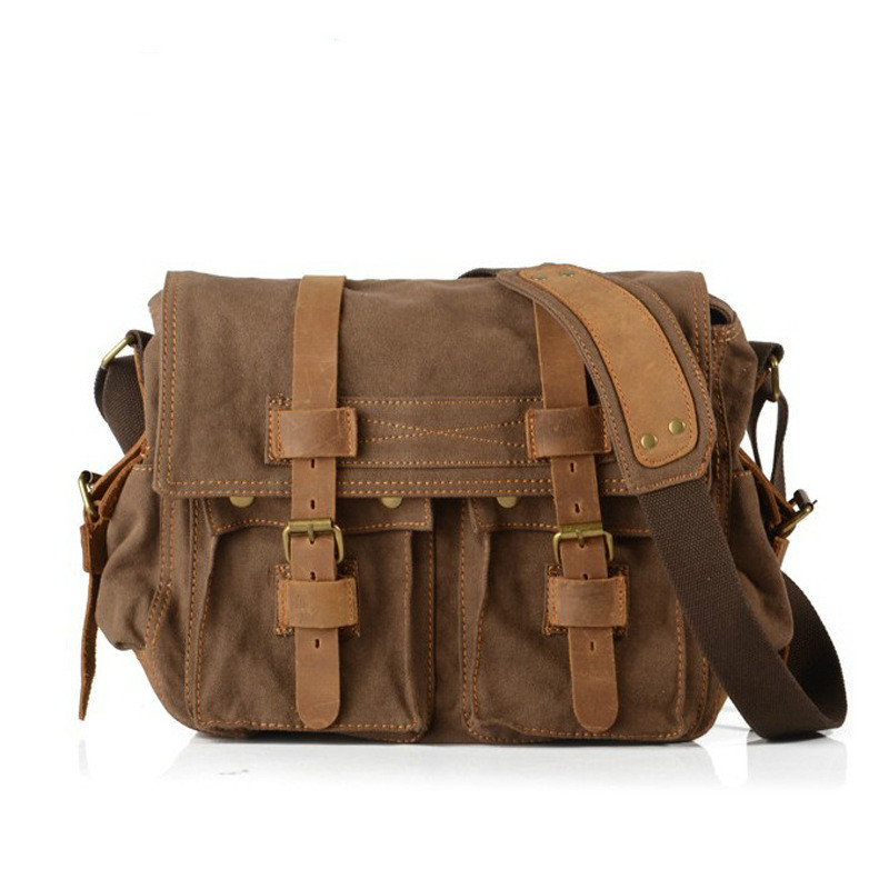 Men Canvas Bag Bucket Leisure Messenger Bag Wearable Canvas Multi-functional Retro Bag Cross Section Male Messenger Bags цена и фото