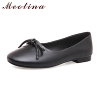 Meotina Genuine Leather Shoes Women Moccasins Bow Ballet Flats Spring Causal Boat Shoes Girls Slip On
