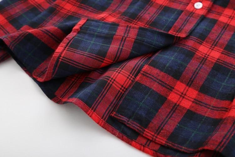 2018 Fashion Plaid Shirt Female College Style Women's Blouses Long Sleeve Flannel Shirt Plus Size Casual Blouses Shirts M-5XL 45