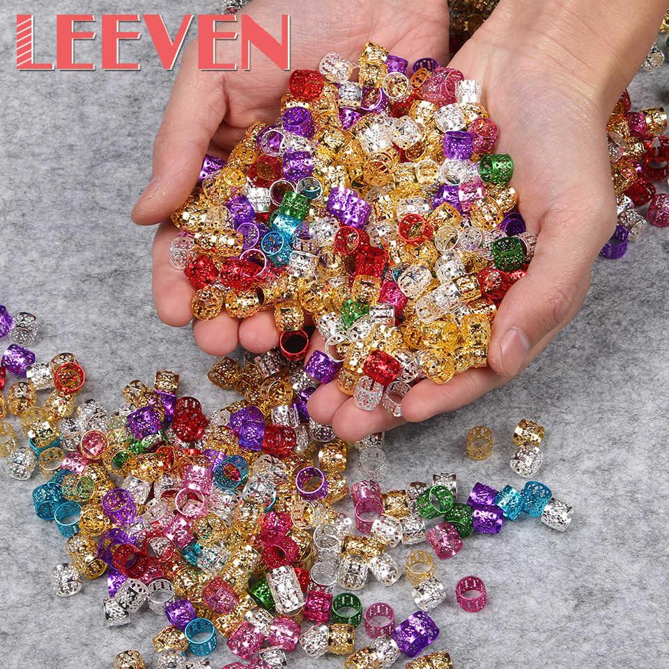 200 pcs/lot gros Dreadlock perles rouge or argent couleur mélangée perle de cheveux pour Dreadlocks anneaux de cheveux tressage trou Micro anneau