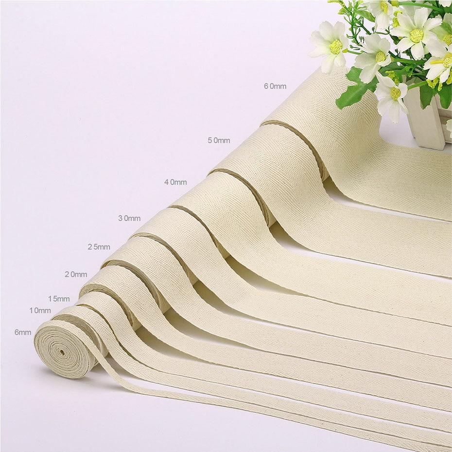 25mm Natural Cotton Twill Herringbone Floral Ribbon Flower Tape BUY 1 2 4m+