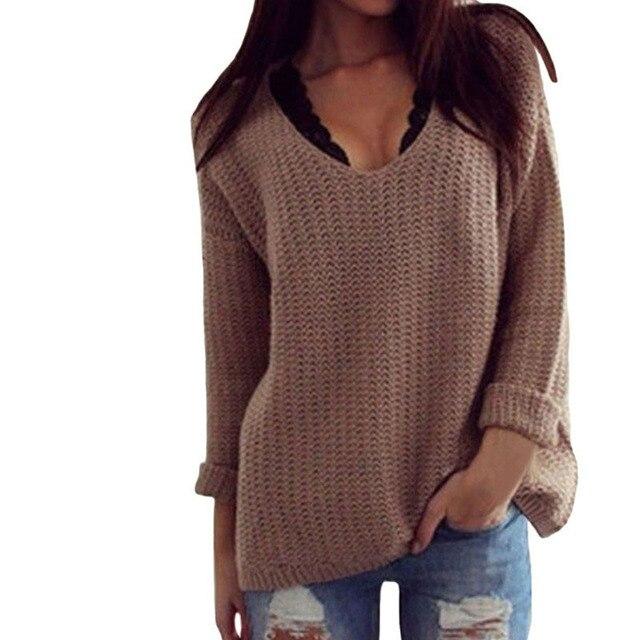 146bdbc3c Retro Loose V Neck Cozy Oversized Sweater Women Pullovers Fashion ...