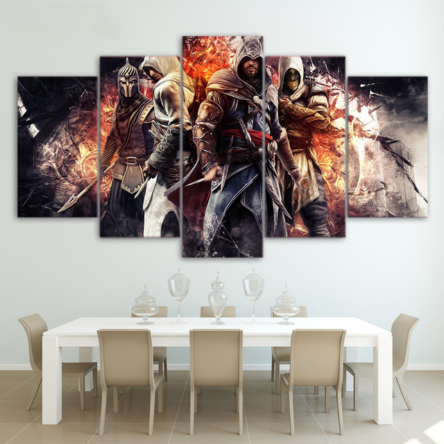 HD Printed Wall Art Modular Canvas Pictures 5 Pieces Game Assassin Creed For Living Room Modern Home Decoration Posters Painting 1