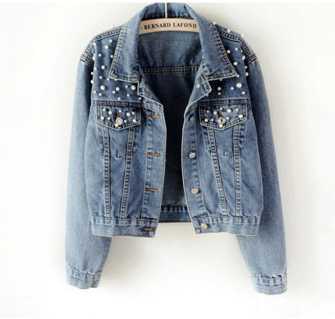 New 2019 Plus Size Pearl Beaded Short Denim Jacket 5Xl Women's Long Sleeve Retro Casual Denim Jacket Bomber Denim Jacket