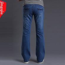 Хорошее качество Мужская одежда тонкий клеш джинсы высокая талия эластичный мужская джинсовая Мини-клеш джинсы