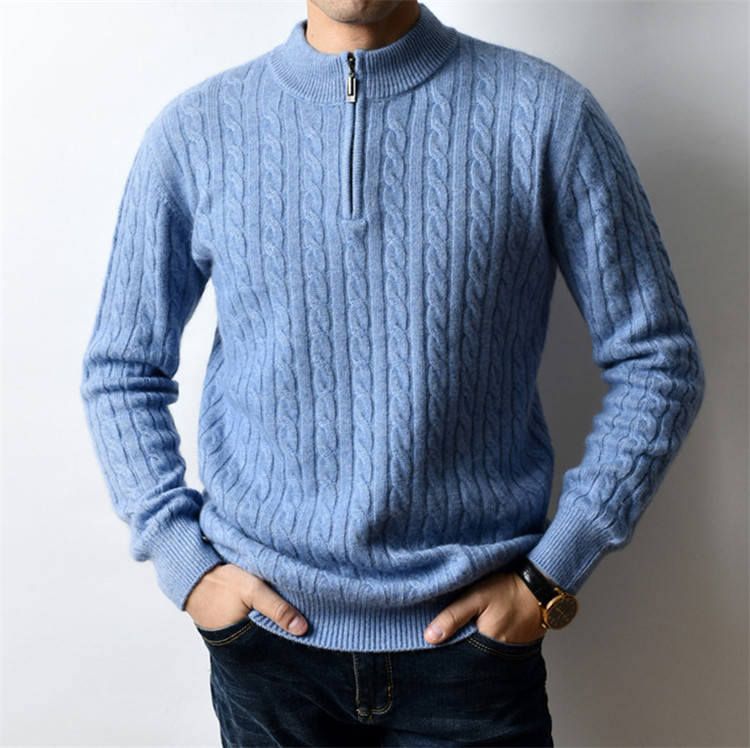 100%cashmere Half High Zipper Collar Knit Men Smart Casual Thick H-straight Pullover Sweater Black 3color S-2XL