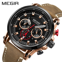 Megir мужские часы хронограф Мужские кварцевые часы кожаный ремешок часы водонепроницаемые спортивные армейские наручные часы с отметкой да
