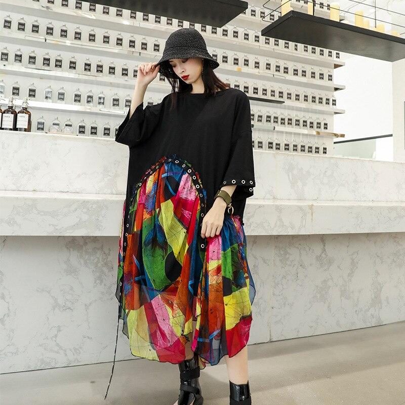 Johnature Summer New Fashion Loose Multi Patchwork Chiffon Dresses 2019 O neck Three Quarter Sleeve Casual Streetwear Dress