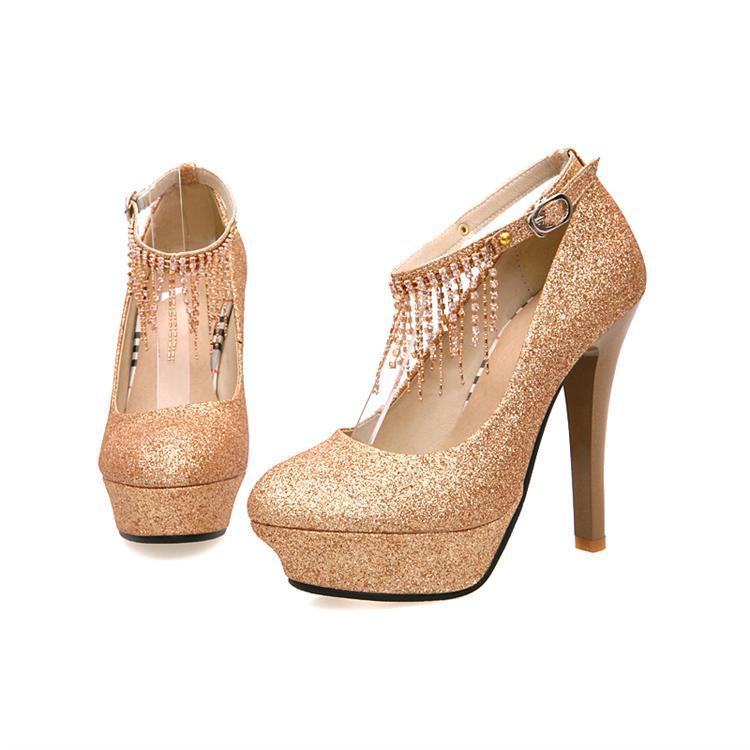 Closed Toe Silver Glitter Heels Rhinestone Elegant Wedding Shoes ...