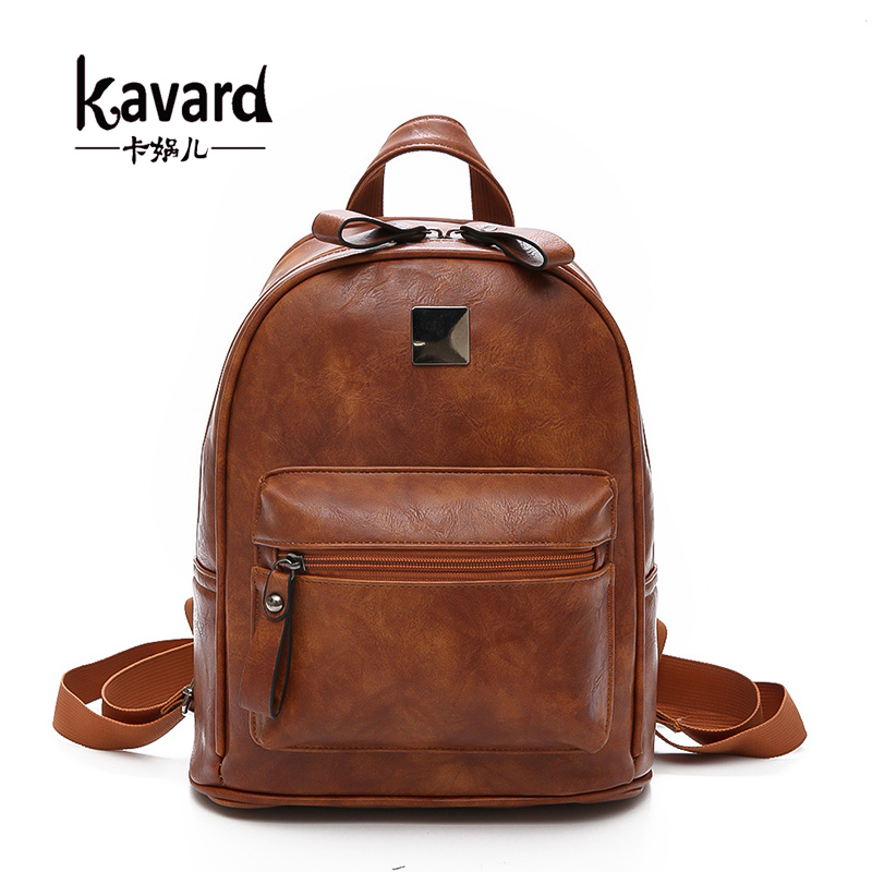 Kavard Women Backpack Vintage PU Leather Backpacks for Teenage Girls New Female School Bag Bagpack sac a dos Mochilas Mujer 2017