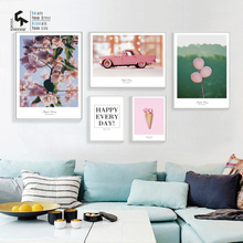 CREATE&RECREATE Nordic Poster Pink Flower Cars Beach Tower Building Prints Wall Canvas Painting Decorative Pictures CR1810115048