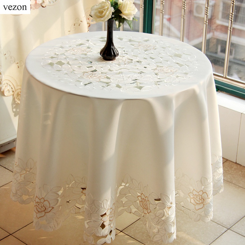 vezon Elegant Round Europe Polyester Satin Floral Embroidery Tablecloths Solid Color Embroidered Table Linen Cloth Cover