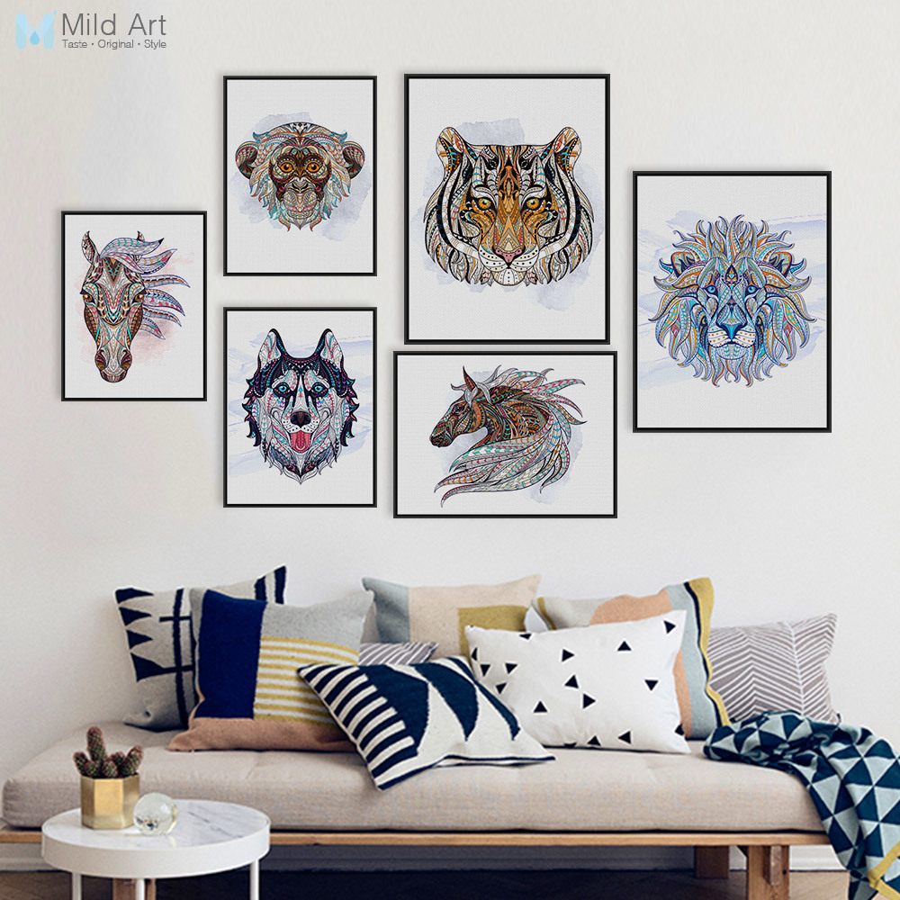 Ancient <font><b>African</b></font> National Animals Head Deer Lion Art Prints Poster Living Room Wall Picture Canvas Painting No Frame <font><b>Home</b></font> <font><b>Decor</b></font>