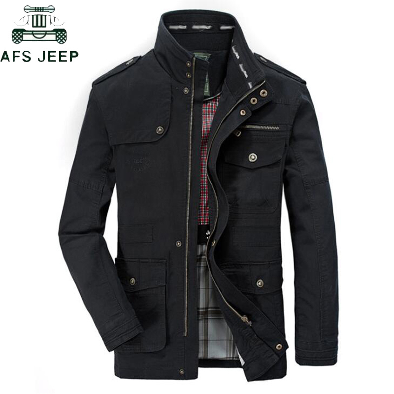 Plus Size 5XL 6XL 7XL 8XL Brand AFS JEEP Military Jacket Men Stand Collar Mens Causal Cotton Windbreaker Long Flight Jackets
