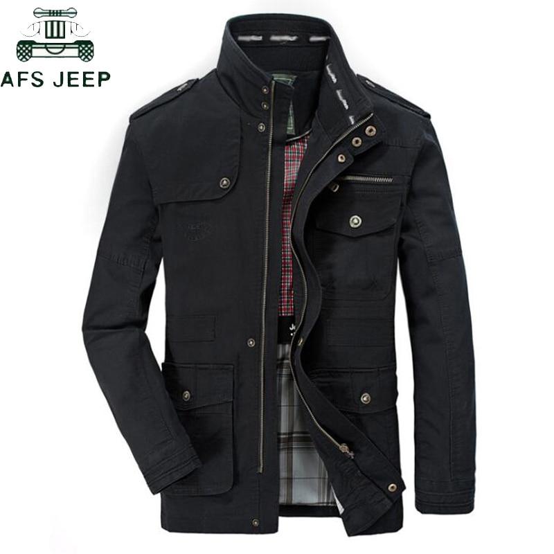 Plus Size 5XL 6XL 7XL 8XL Brand AFS JEEP Military Jacket Men Stand Collar Mens Causal Cotton Windbreaker Long Flight Jackets
