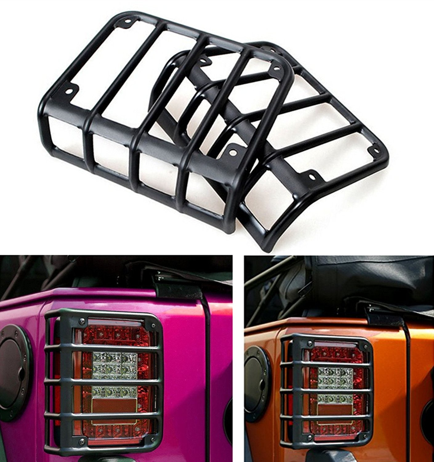 Pair Matte Black Rear Euro Tail Light Guard Cover Protector 2007-2016 for Jeep Wrangler JK Unlimited auto products Lantsun rear break led tail lights backup tail lamp high mount stop light for 2007 2016 jeep wrangler jk unlimited jk rubicon sahara