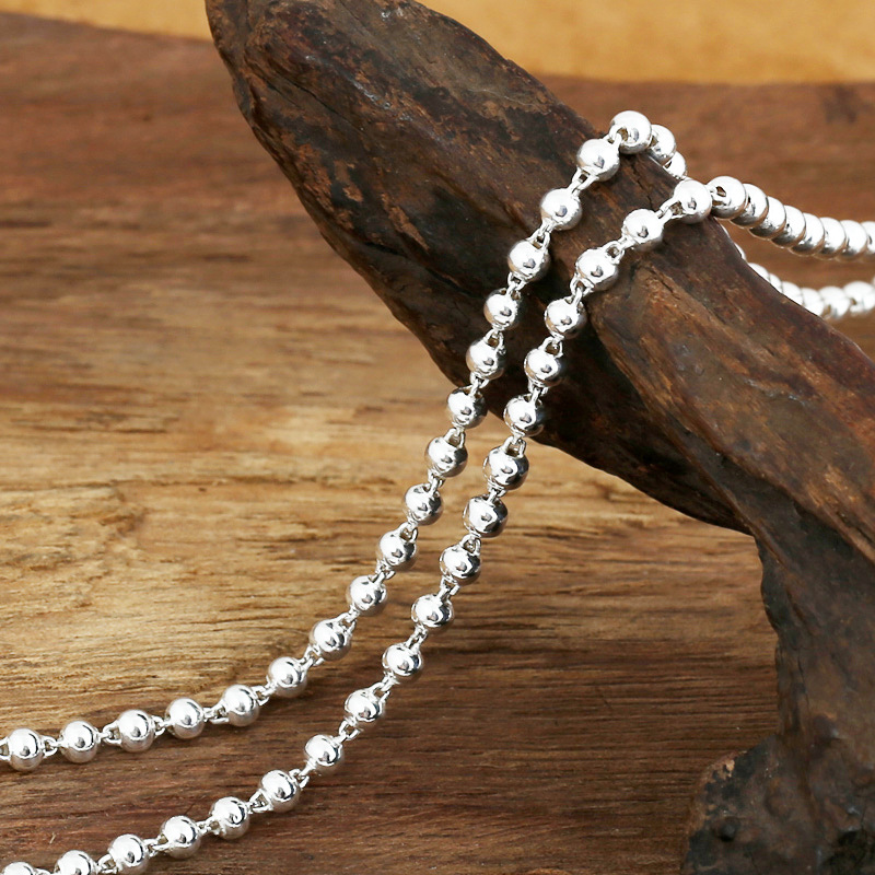 FNJ 3mm Ball Chain Necklaces 925 Silver 45cm to 80cm New Fashion Original S925 Thai Silver Women Men Necklace for Jewelry Making