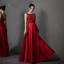 Red Evening Dress Long Scoop A-Line Sleeves Luxury Beaded Top Satin Prom Dress 2019 Formal Party Gown Vestido de Fiesta NE83