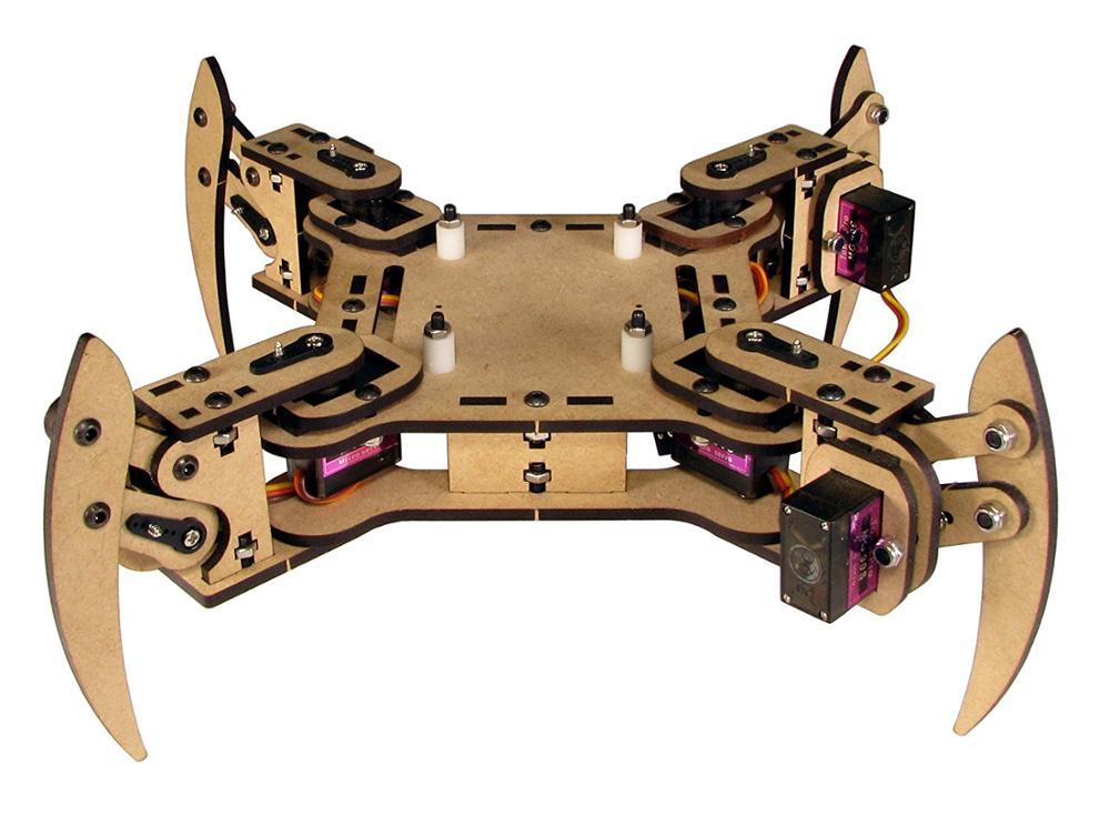 DIY mePed v2 Quadruped Walking Robot - Base Kit wooden palte+Metal Gear Servos+screws/nuts kit tower pro mg90 metal gear servos with parts
