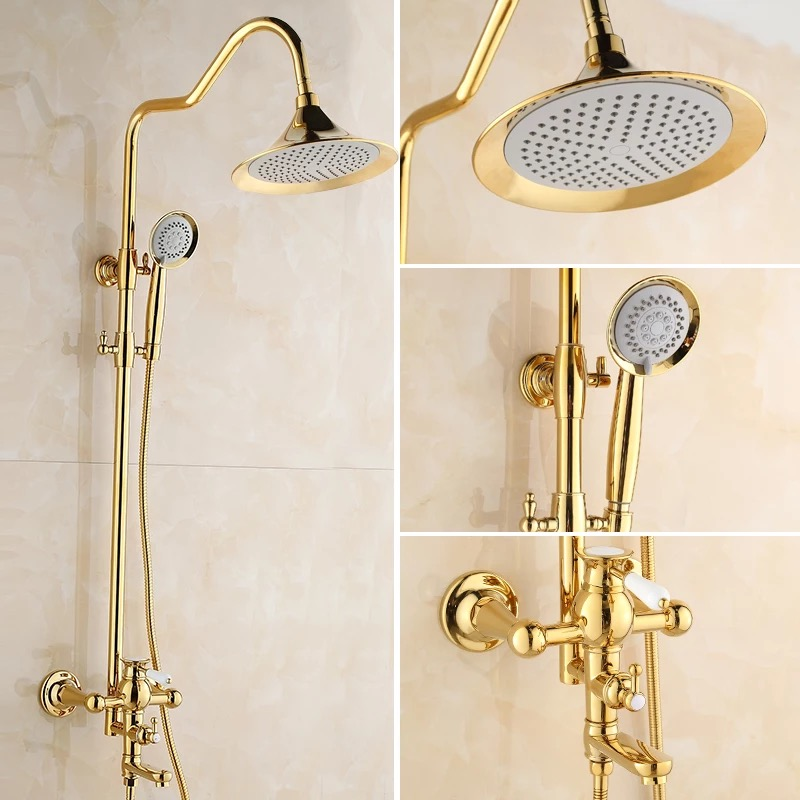 BECOLA Home&hotel Engineering Luxurious Bathroom Shower Set European Gold Type Shower Set Brass