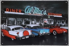 1 pc Diner restaurant Cars show antique US tin Plates Signs wall plaques man cave Decoration vintage Dropshipping Poster metal