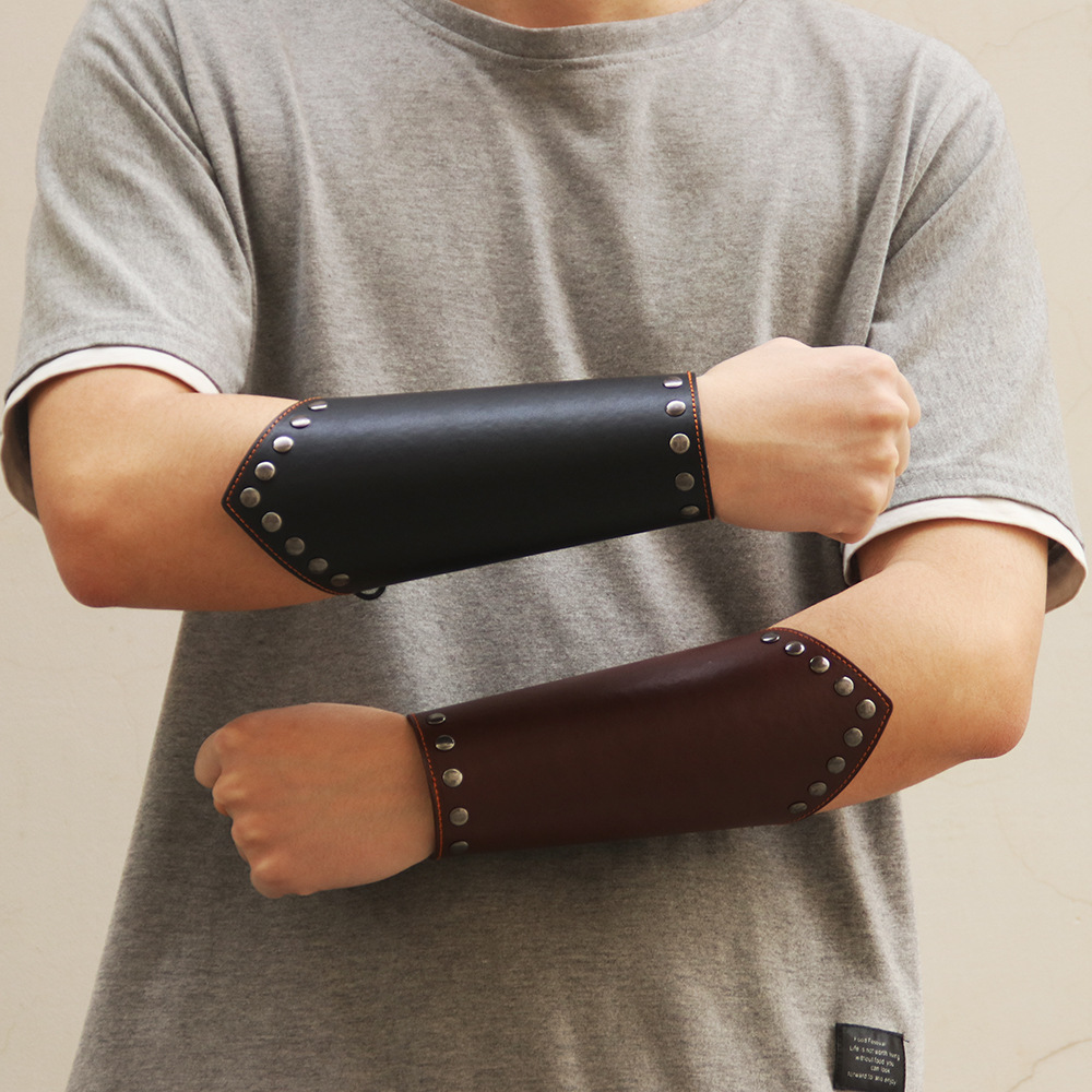 Vintage PU Faux Leather Wide Bracer Drawstring Arm Armor Cuff Cross Brown/Black Punk Style For Men Gauntlet Weaving Wristband