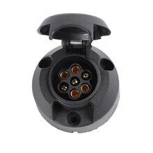 12 V 7 Pino Plástico Conector Socket Trailer Tow Bar Electrics 7 Europeu forma núcleo adaptador de Tomada de carro De Plástico do pólo acessórios