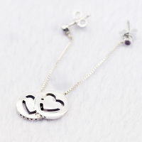925 Sterling Silve Jewelry Chain Earring Silver Disc With A Cut Out Hearts Suited To Every