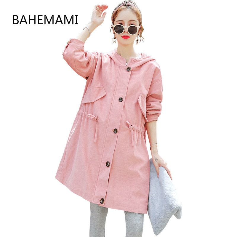 BAHEMAMI Autumn Winter Maternity Coats Corduroy Windbreaker Pregnancy For Pregnant Women Trench Wear Outerwear Gravida Jacket