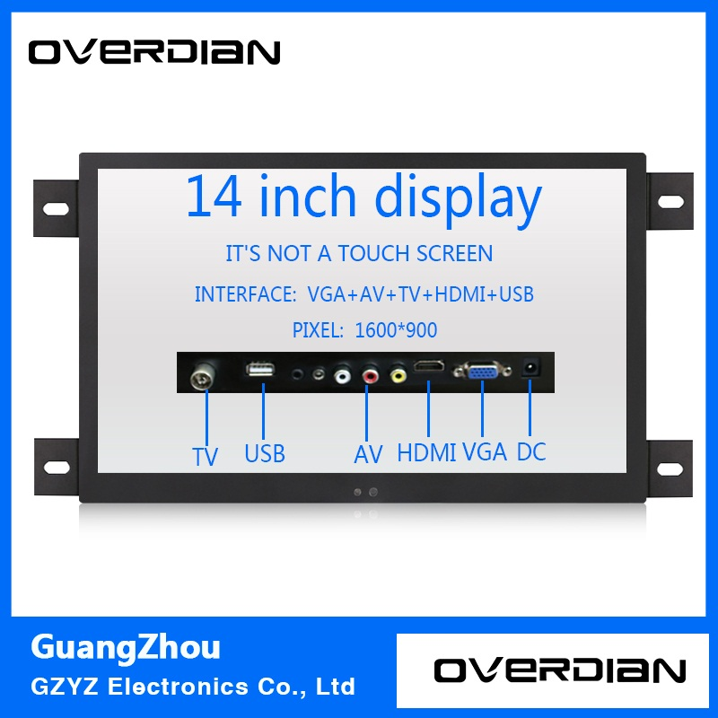 14 VGA/HDMI/TV/AV/USB Interface Industrial Control Lcd Non-Touch Monitor Metal Shell Black Embedded Frame1600*900 11 6 inch metal shell lcd monitor open frame industrial monitor 1366 768 lcd monitor mount with av bnc vga hdmi usb interface
