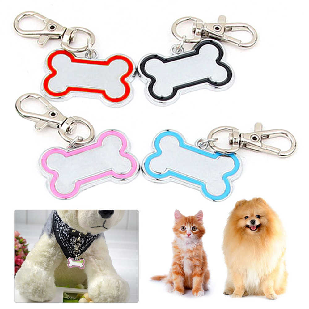 1 Mini Pet Dog Cat ID Name Tag Personalized Puppy Name Tag Bone Shape 4color Custom ID Zinc Alloy Engraving Pet Label