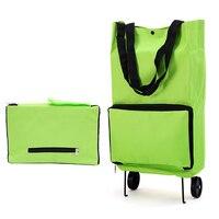 Складная тележка для покупок колесо легкий складной мешок траваль корзина багаж зеленый