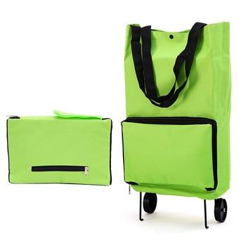 Katlanabilir alışveriş el arabası tekerleği hafif katlanır çanta seyahat arabası bagaj yeşil
