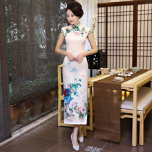 New Chinese Traditional Female Slim Cheongsam Vintage Print Flower Satin Sexy Dress Novelty Handmade Button Qipao M-XXXL