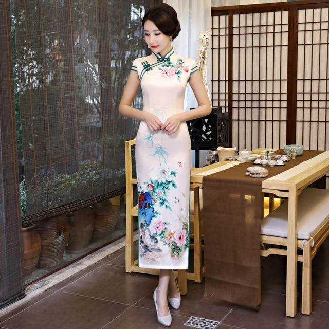 13230b666 New Chinese Traditional Female Slim Cheongsam Vintage Print Flower Satin  Sexy Dress Novelty Handmade Button Qipao M-XXXL