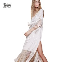 Yackalasi Long Tassel Dress For Women Vintage White Embroidered Floral Boho Clothing People Top Tunic