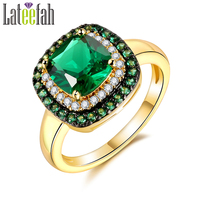 Lateefah Brand Jewelry Rings For Women Princess Cut Square Green Spinel Gold Plated Halo Ring For