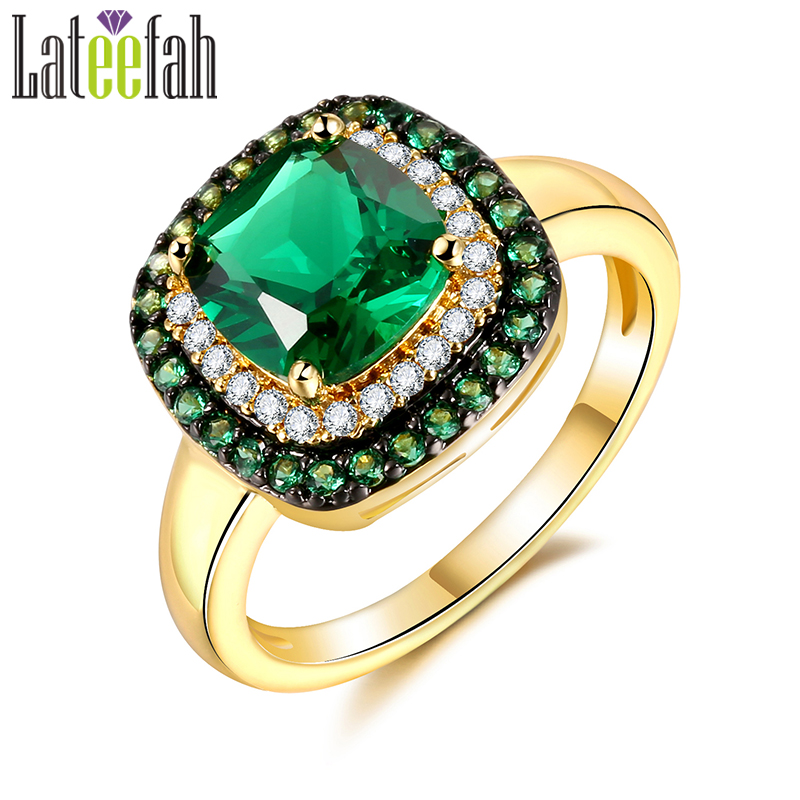 Lateefah Wedding Rings for Women Princess Cut Square Imitation Emerald Green Stone Gold Color Halo Engagement Ring Bague Femme