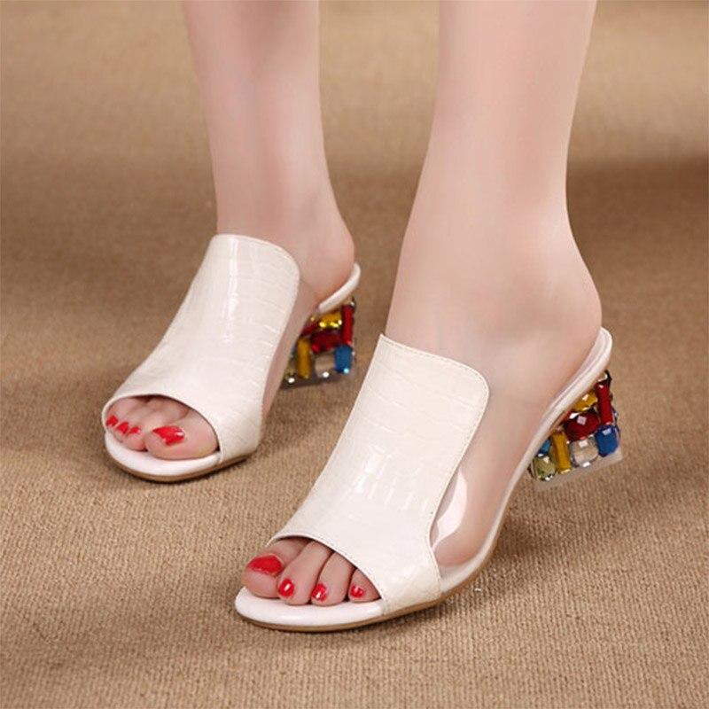 e60aee7ba8301 Plus rozmiar lato buty damskie pantofle Open Toe wysokie obcasy buty  sukienka Rhinestone na wysokim obcasie
