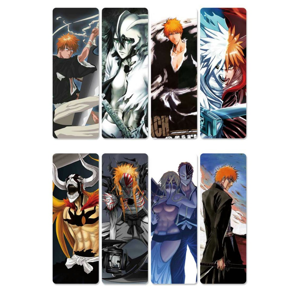 8pcs Classic Anime Bleach Bookmarks Waterproof Transparent PVC Plastic Bookmark Beautiful Book Marks Gift