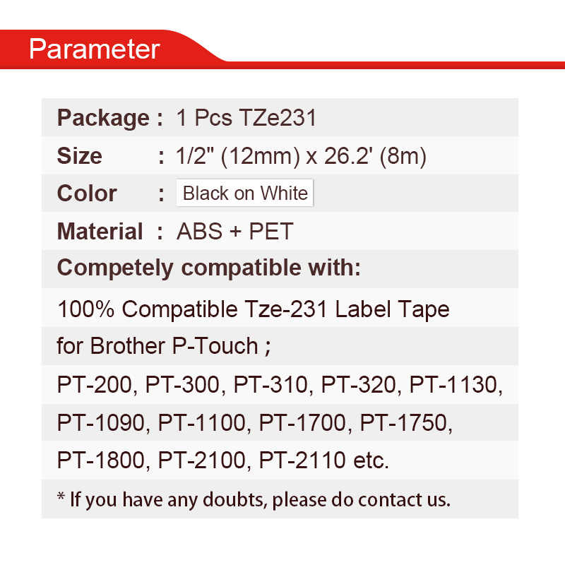 HWDID tze 231 черного цвета на белом принтер этикеток замена ленты для Brother Tze231 Tze-231 p-touch tz231 tze-231 P сенсорный принтер