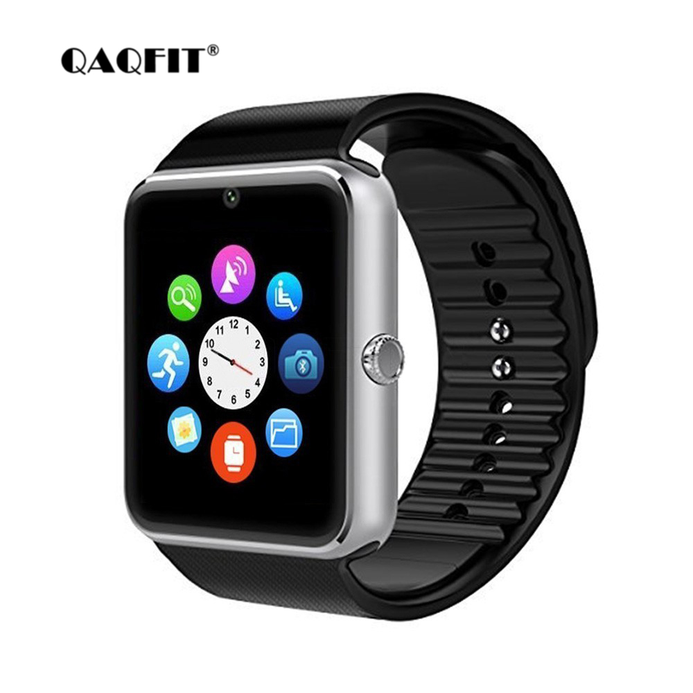 QAQFIT Bluetooth Smart Watch hombres GT08 con pantalla táctil Batería grande TF tarjeta Sim cámara para IOS iPhone Android teléfono