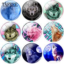TAFREE  Handmade Pattern Wolf DIY Glass Cabochon Round Dome Jewelry Findings For Pendant Keychain Necklace цены онлайн
