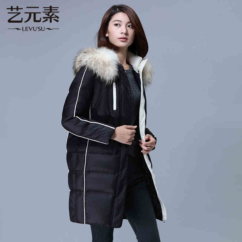 2015 New Winter Cold Warm Woman Down jacket Coat Parkas Outerwear Hooded Raccoon Fur collar Luxury Long Plus Size XL Hit color